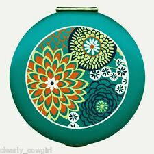 #8960 - WELLSPRING TEAL BLUE FLORAL PURSE COMPACT 2 MIRRORS ONE MAGNIFIES -WOW!