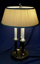 Brass Bouillotte Table Lamp 3 Stick Bankers Lawyers Hollywood Regency Shade