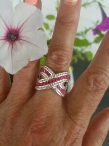 Substantial Pink Tourmaline Baguette Designer Band Ring, 925, sz 6