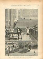 Graham Bell expérience téléphone émetteur et récepteur microphone GRAVURE 1884