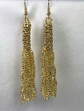 Gold Lined Crystal Vintage-Bead Crochet Earrings