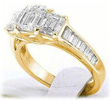 3.00 carat total, 3 Stone Emerald Cut Diamond Engagement Yellow Gold Ring w bagt