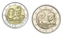 2 x 2 Euros Commémorative Luxembourg 2021 Duc + Mariage Versions Relief