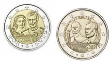 2 x 2 Euros Commémorative Luxembourg 2021 Duc + Mariage Versions Relief