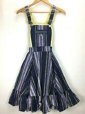 Vintage Rockmount Ranch Wear Girls Dress Sz 8 Square Dance Overall Stripe Blue