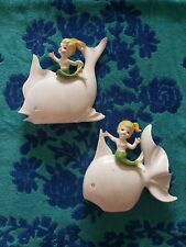 Set of 2 Vintage Norcrest Mermaid Riding Fish Plaques green iridescent ceramic