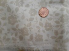"""Deep Ivory Beige Floral Tone On Tone Cotton Fabric Kings Road 1 1/3 Yd x 44"""""""