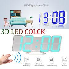 LED Digital Table Wall Clock Large 3D Display Alarm Clock Brightness Dimmer USB