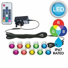 SET OF 10 - 30mm RGB PATIO DECK PLINTH LIGHTS IP67 LED REMOTE COLOUR CHANGING
