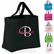 3 Personalized Monogrammed Embroidered Tote Bridesmaid Gift Bags Bridal Wedding
