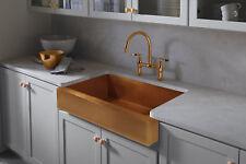 "Hand Hammered Copper Apron Farmhouse Kitchen Sink 36""x22"""