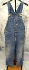 MADE IN USA Big Smith Men's Size 40x27 Denim Blue Overalls Bib FADED HOLES WORN