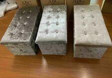 Crushed Velvet Diamante Silver Ottoman Storage Box Folding Seat & Cushion Covers