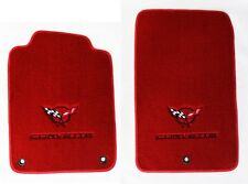 NEW! Red Floor Mats 1998-2004 Corvette Embroidered Circle Emblem Double Logo Red