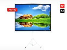 "Projection Screen Portable Tripod 145x110 Tripods 72"" 4:3 HD 3D Maclean UK Stock"