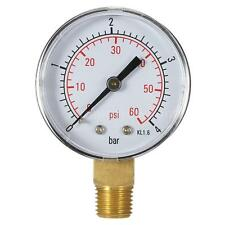 "New 50mm 0~60psi 0~4bar Water Pressure Gauge 1/4"" NPT Thread Manometer G1X3"