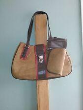 Croft & Barrow Brown Faux Suede Faux Red Leather Croc Shoulder / Satchel Bag