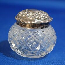 An small antique Victorian silver topped cut glass vanity pot, hallmarked 1878