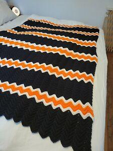 "Black Orange White 48x67"" Halloween Chevron Afghan  Throw Well Made"