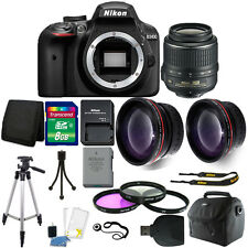 Nikon D3400 Digital SLR Camera 3 lens 18-55mm Lens + Top Value Accessory Bundle