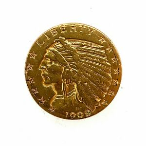1909 D  $5 Dollar United States Indian Head Half Eagle Gold Coin.