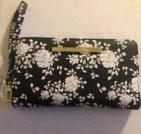 Betsey Johnson Black & White Floral Print Zip Around Wallet/Wristlet NWT