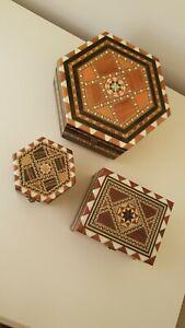 3 VINTAGE SPANISH INLAID WOOD TRINKET BOX JEWELLERY BOXES.