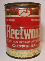 Vintage 1950s FLEETWOOD GRAPHIC KEYWIND COFFEE TIN 2 POUND CHATTANOOGA TENNESSEE