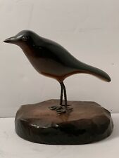 Vintage Folk Art Wood Carved and Handpainted Bird.Black,Brown.Artist Signed NR