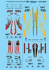 Microscale Decals 1/72 F-14 Gatos VF-11, VF-24, VF-33 y VF-51 # MS72043
