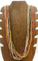 """Seed Bead Multi Strand Orange Yellow Red Green Silver Tone Spacer 32"""" Necklace"""
