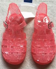 Gap Kids Jelly Sandals, Girls Size 10, Coral Pink, Scented, Sparkly, Slingback