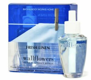 2 Bath & Body Works FRESH LINEN Wallflowers Fragrance Refills Boxed 1.6oz NEW