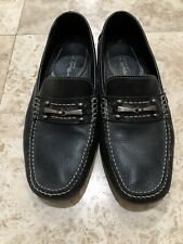 Via Spiga Mens Driver Shoes Black Leather Sz 11M  K1606-G EUC