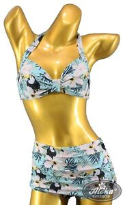 Vintage Damen hawaii Tukan Papagei muster Bikini hibiskus tropical Rockabilly