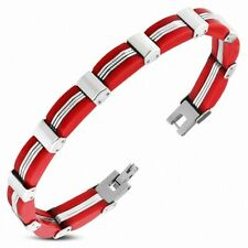 Bracelet with Link Stainless Steel with Rubber Red Panther