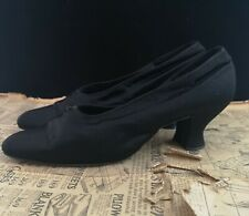 Antique Victorian black satin shoes, Louis heel