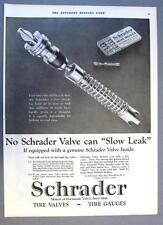 10 x 14 Original 1925 Schrader Tire Valve  Ad  NO SCHRADER VALVE CAN SLOW LEAK