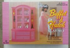 New Gloria Furniture Buffet & Hutch Wine Carafes w/Dining Wares+Bottles+Glasses