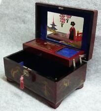 TOKIWA Japan Decorated Black Lacquer Music Jewellery Box Working Lock Vintage