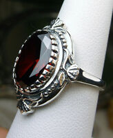 5ct Oval Garnet CZ Sterling Silver Victorian Filigree Ring Size {Made To Order}