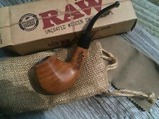 RAW Rolling Papers Brand Uncoated Wood Tobacco Smoking Pipe with Pouch + SCREENS