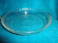 """VINTAGE PYREX CLEAR GLASS 9"""" DEEP DISH PIE PLATE PAN #229 FLUTED EDGE W/ HANDLES"""