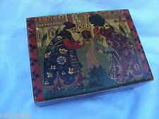 Antique Hand Painted Russian Wooden Hinged Box Jewelry Trinkets cigars?
