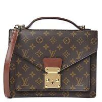 LOUIS VUITTON LV MONCEAU 26 Crossbody Satchel Bag Monogram Strap