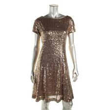 SLNY Woman 18 Copper Gold Metallic Sequin Short Sleeves Party Cocktail Dress NWT