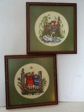 Lot of 2 Vintage HUMMEL Children 17 x 17 Framed Handmade Needlepoint Embroidered