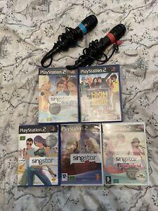 SingStar Microphones + 5 Games PlayStation 2 Ps2 Bundle