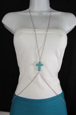 Women Silver Body Chain Long Necklace Big Turquoise Blue Cross Fashion Jewelry