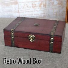 Coffre à Trésor vintage en bois bijoux bois rangement boîte organisateur bague